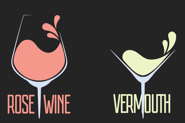 Vermouth Wein und Rose Wein
